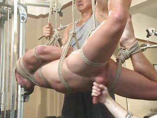milked and fucked in the gym by his gay buddies