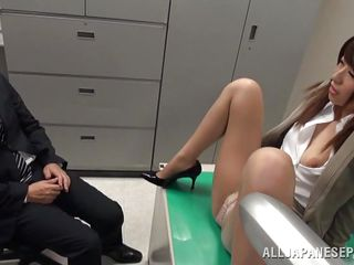 naughty japanese masturbating in the office
