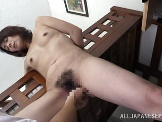 ready japanese milf gets fingered in her hairy twat