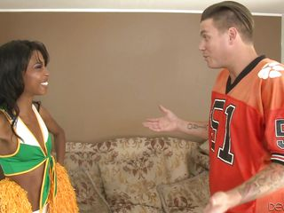 black cheerleader gets eaten out @ chocolate cheerleader camp #03