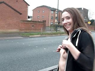 dark hair beauty walks naked in public
