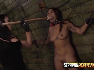 she gets violated with a dildo on a pole