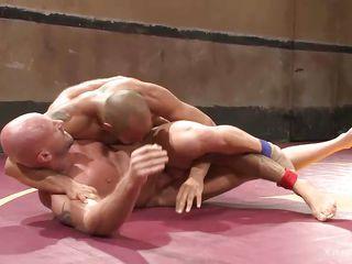 two hunks wrestle naked