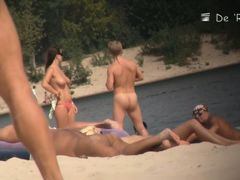 Nude beach peeker camera shot of sexy well endowed people