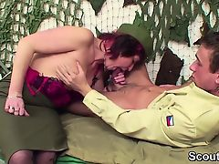 56yr old german Army Granny officer fucks 18yr young cadets
