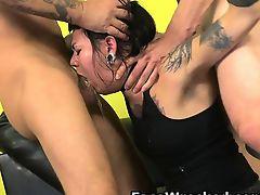 Handcuffed Dark hair Youthful Getting Face Bonked Raw