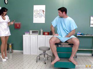 bawdy nurse gives hot handjob and footjob