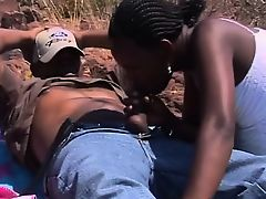 African Ebony Teens Blowjob Outdoors Foursome