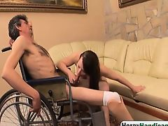 Large brunette amateur curing handicapped guy