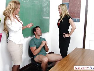 lucky guy having getting pleasure with 2 titsy milfs