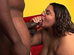 Slutty chubby woman shows big body and makes love well with chap