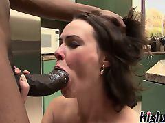Kinky housewife rides on a BBC
