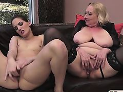 Euro girl Lyen Parker is pussy eaten and licks busty granny
