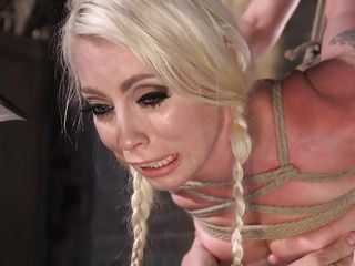 bound tightly in rope, lorelei gets her vagina played with