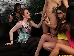 CFNM gals jerking off cock at a henparty