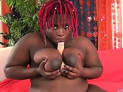 Ebon plumper shows her juicy milk sacks and heavy apple bottoms Later that babe