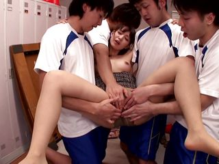 hot japanese beauty accepts her aperture drilled by four horny guys