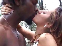 Petite young Shaina Arab gets a piece of chocolate meat in the forest