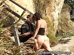 Brunette Sucks And Rides Cock On Public Beach