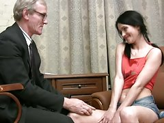Slutty Karina gets fucked by her old teacher in his house