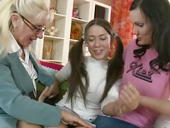 Hot teens Isida and Irina get dildated hard by an old woman