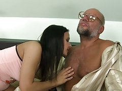 Mature Man Fucks A Brunette Hottie With Nice Tits