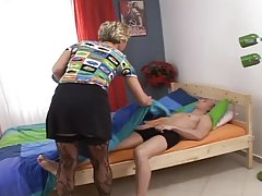 Slutty mature blonde lady getting fucked by her son
