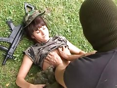 Horny Soldier Fucks His Brunette Enemy with Small Tits Outdoors