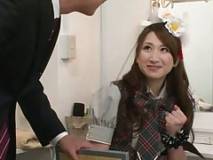 Lovely Japanese chick in sexy costume gets fucked