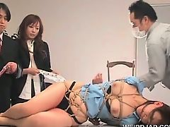 Asian sex slave gets submitted to raunchy teasing in group