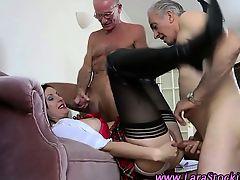 Stockinged mature infant horny brit