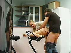 Sex on the kitchen with  russian beauty lass