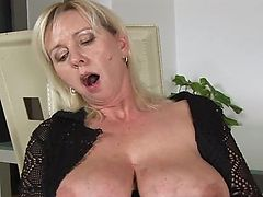 Grown with big tits and shaved pussy