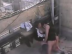 Latin Girl fucking on the roof